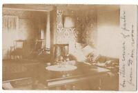 092220 VINTAGE RPPC REAL PHOTO POSTCARD OF PARLOR SITTING ROOM INTERIOR