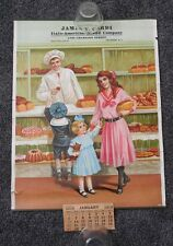 Antique 1918 Calendar Italo-American Bread Co Grocery Store Baker Lady 20 x 15""