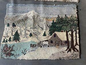 Antique Farmhouse Handmade Hooked Rug 1930 Winter Scene