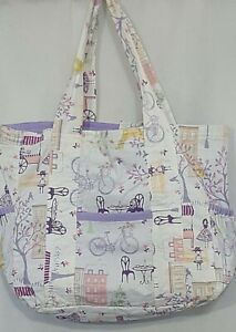 Pastel Purple White Cloth Diaper Bag Tote Bag French Cafe 9 Pockets