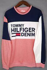 Men's XL Tommy Hilfiger Denim Pink Blue & White Stripe Jumper / Sweater