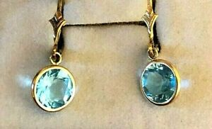 SIGNED  585 14K SOLID YELLOW GOLD & BLUE TOPAZ DANGLE EARRINGS  LEVER BACK