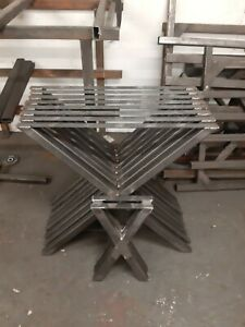 2 Metal table legs bench legs cross legs industrial UK steel designer