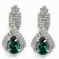 Luxury Diamond Shine Rhinestone Emerald Green Long Drop Stud Earrings E860