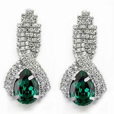LUXURY Diamante Shine Strass Verde Smeraldo Lungo Goccia Orecchini E860