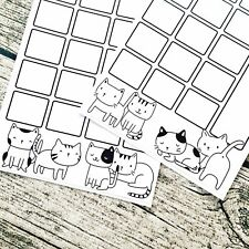 Doodle cats two page journal calendar, Month at a glance, Bullet calendar, Blank