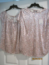 TWO NEW w tags Lauren Conrad Crushed Velvet Rose Print Shirt Top Sz S Small