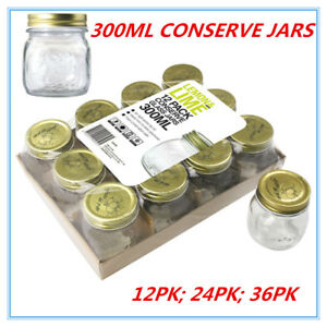Gold Lid Glass Storage Jar 300ml Wedding Favours Kitchen Conserve Jam Spice Bulk