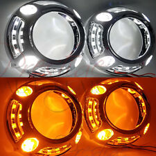 2pc Switchback Panamera Style Shroud Halo, W/LED White DRL, Amber Turn Signal