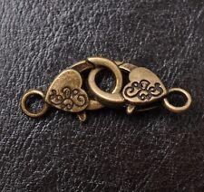 10Pcs Tibetan Silver Floral Heart Lobster Jewelry Clasps & Hooks 25X14MM F687