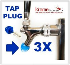 BEER FAUCET BRUSH KLEEN PLUG 3X BLUE HYGIENE TAP CAP TO KEEP CLEAN BUG FREE TAPS