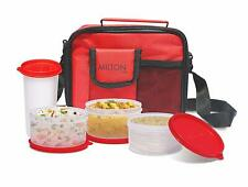 Milton Meal Stylish Combi Plastic Lunch Box Set, Red