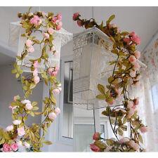 2 Stück Künstlich Gefälschte Seide Rose Blume Efeu Rebe Girlande Hochzeits Party