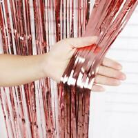 New 2M Shimmer Foil Rose Gold Glitter Tinsel Metallic Curtain Backdrop Party