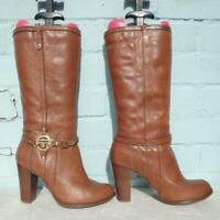 River Island Leather Boots UK 6 Eur 39 Womens Mid calf RIR Brown Pull on Boots