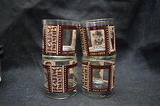 4 Roaring 20's Low Ball Glasses - Depicts Silent Film Stars - by Houze Art Glass
