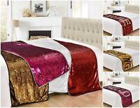Mermaid Sequin 2 Colour Bed Runner Bedding Throw White Gold Black Pink 65x200cm