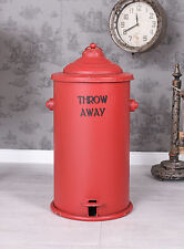 Treteimer Retro Rot Metall Mülleimer Abfalleimer Vintage Müllbehälter