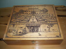 VINTAGE Trinket Wooden Box Chest w/ Old Castle Country Farming Scene