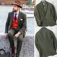 Vintage Herringbone Suits Men's Green Peaky Blinder Formal 1920s Retro Suits