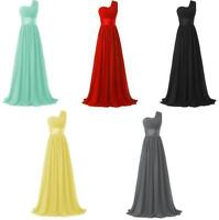 One Shoulder Bridesmaid Evening Dress Formal Party Prom Long Maxi Dress 10 Color