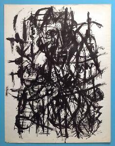 David LAN-BAR Composition 1954 signée 65x50 Abstrait Pierre GERMAIN Soulages