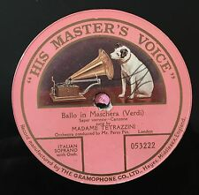 "RARE 78RPM 12"" ONE SIDED LUISA TETRAZZINI BALLO IN MASCHERA VERDI HIS MASTER'S V"
