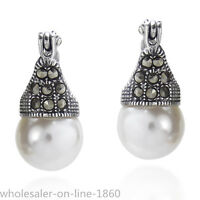 Vintage Flair Marcasite and Pearl .925 Silver 10mm Earrings Leverback