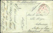 426340) Ägypten Feldpostkarte mit K1 und rotem Zensur-Dreieck 1917 nach GB