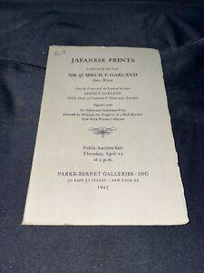 """Japanese Prints"" 1945 Parke-Bernet Auction Catalog ~ Mr. & Mrs. H.P. Garland"