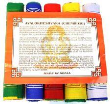 Cotton Prayer Flags Avalokiteshvara Wisdom & Compassion Mantra 10 Flags 24 x 20