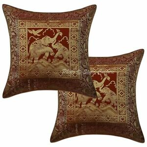 Traditional Decorative Sofa Cushion Covers 16 x 16 Brocade Jacquard Pillow Cases