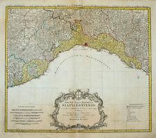 1749 GENOVA GENOVA LIGURIA Liguria Italia parte dipinte RAME chiave-CARTINA