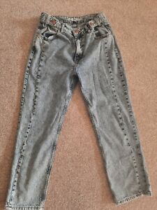 Ladies RIVER ISLAND Size 12 ACID WASH Mom Jeans drop HIGHWAISTED