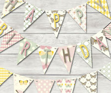 HAPPY BIRTHDAY BUNTING - BEAUTIFUL BUTTERFLIES -18 FLAGS!! - BANNER DECORATION