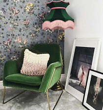 Green velvet lampshade with pink fringe for a standard lamp floor lamp ceiling