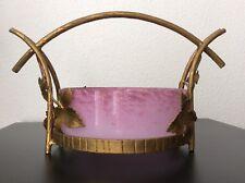 Coupe à fruits en fer forgé doré et pâte de verre marmoréen Art Nouveau