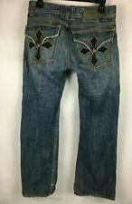 Affliction Flap Pocket Straight Leg Denim Jeans with Skull Buttons. Tag 30X32