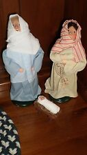 1990 Byers Choice Caroler's Nativity 3 PC Set Mary, Joseph & Baby Jesus / cradle