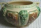 """Vintage ROSEVILLE 4"""" Florentine Rose Bowl w/Handles 130-4"""" Green Brown on Ivory"""