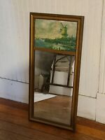 Antique Mirror with picture of windmills and fancy gold frame 31 x 14 3/4""