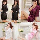 Women Sexy Satin Lace Robe Sleepwear Lingerie Nightdress G-string Pajamas ww