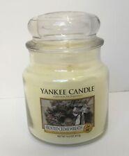 RARE Yankee Candle FROSTED CEDAR WREATH Medium Jar 14.5 oz Christmas VRHTF
