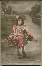 1916 BIRTHDAY GREETING POSTCARD Real Photo Hand Painted - Girl with Flowers