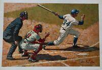 BEAUTIFUL VINTAGE SPORTS BASEBALL MLB RARE ART PRINT BY ARTIST ARTHUR SARNOFF