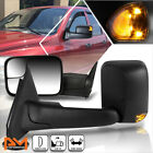 For 02-09 Dodge Ram 1500-3500 Manual Telescoping Towing Mirror+LED Signal Black