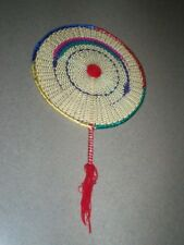 Round Woven Hand Fan Multi-Color Weave-Handle Is Interwoven And Bottom Is Coverd