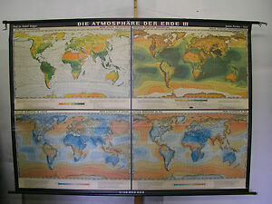 Schulwandkarte Atmosphere Der Earth Wind Sun T3 228x162 1964 Vintage World Map