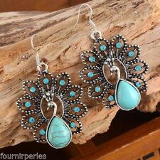 1 Paire Boucles d'Oreilles Paon Turquoise Strass Bijoux Femme 5.3x3.1cm FP