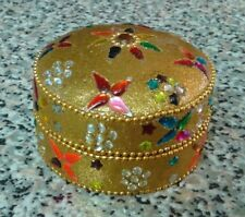"""GOLDEN BEADED TIN KEEPSAKE BOX ADORNED WITH SPARKLES AND FLOWERS, 3"""" WIDE"""
